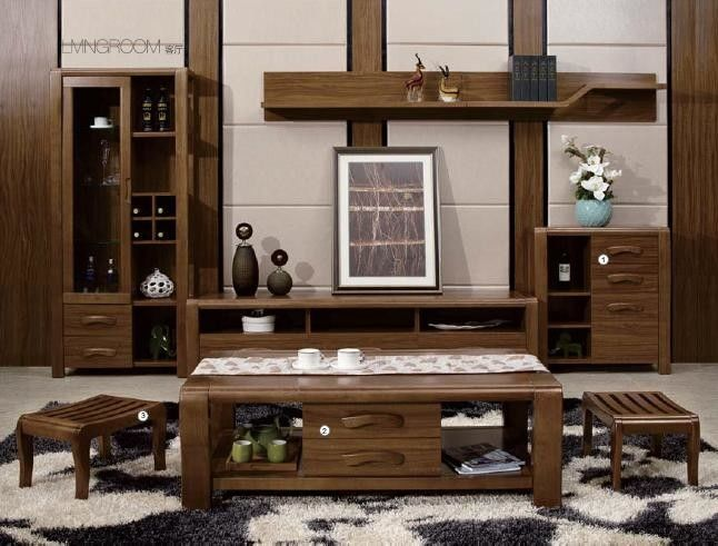 Modern Design Living Room Furniture / Solid Wood Wall Units Coffee Table