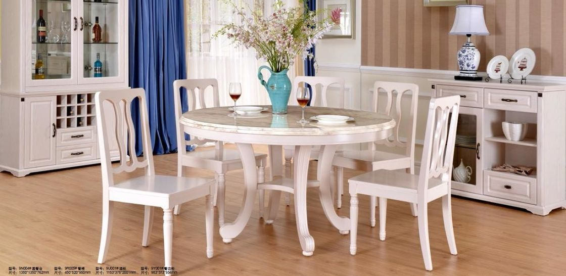 Simple European Style Wood Dining Table Set / Dining Room Unit Uptake Plastic Technology