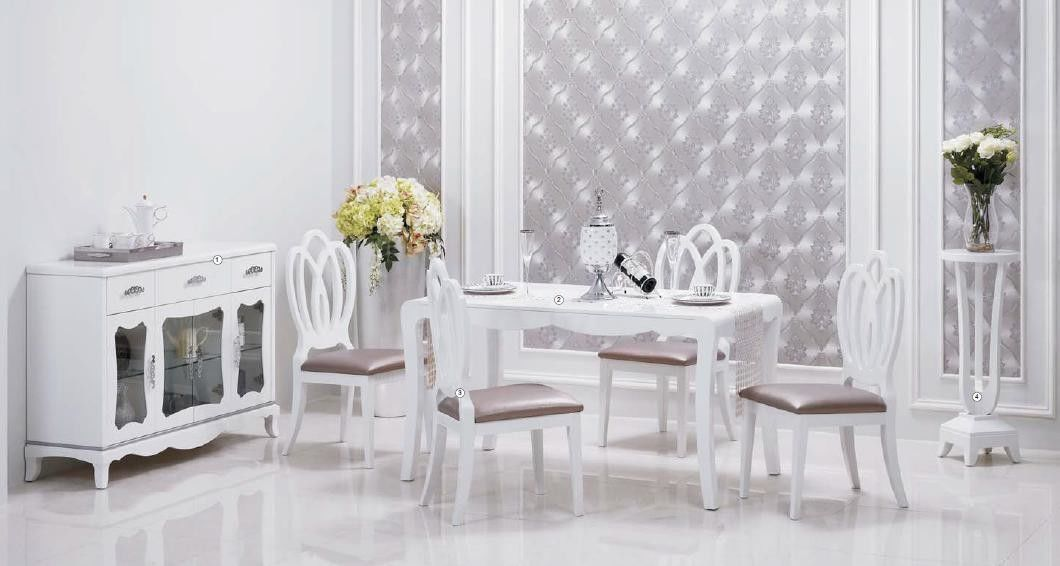Simple Lines Contemporary Dining Room Furniture Beautiful Pure White Color